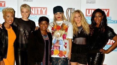 Emeli Sande, Jessie J, Doreen Lawrence, Rita Ora, Ellie Goulding and Beverley Knight