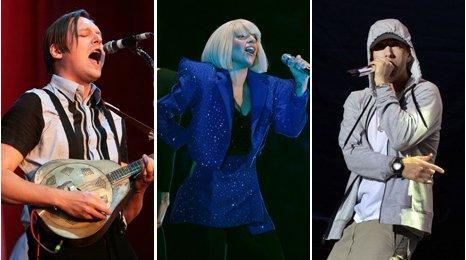Arcade Fire, Lady Gaga, Eminem