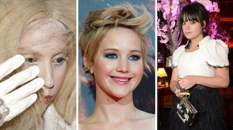 Lady Gaga, Jennifer Lawrence and Lily Allen