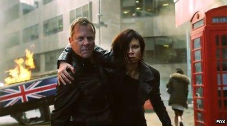 Kiefer Sutherland as Jack Bauer and Mary Lynn Rajskub as Chloe O'Brian