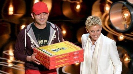 Edgar Martirosyan with Ellen DeGeneres at the Oscars