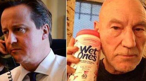 David Cameron and Patrick Stewart