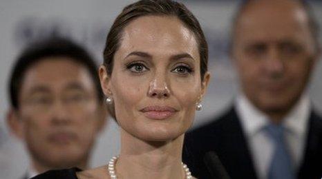 Angelina Jolie giving a speech