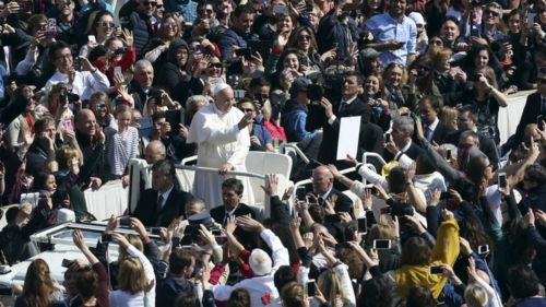 Pope Francis takes a tour of the square after his blessing and before his speech, 27 March