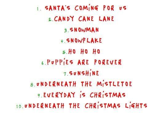 The track listing for the album