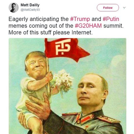 Eagerly anticipating the #Trump and #Putin memes coming out of the #G20HAM summit.