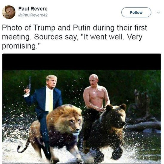 Photo of Trump and Putin during their first meeting. Sources say it went well