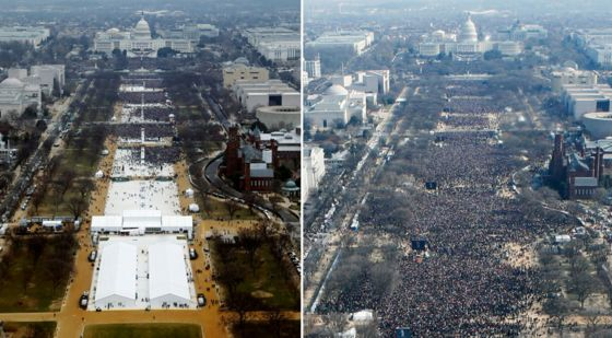 Image result for Trump inauguration: President attacks 'dishonest' media over crowd photos