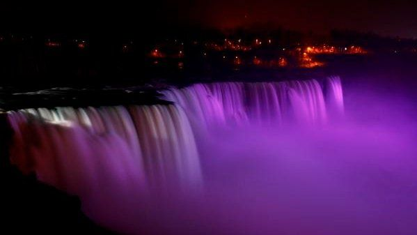 Niagara Falls turns purple for the Queen's birthday - and for Prince.