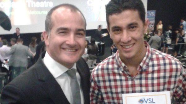 Saad with Australia's minister of education