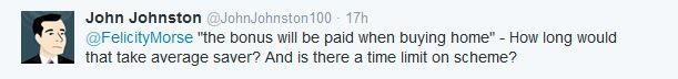 Twitter question on Help To Buy ISAs