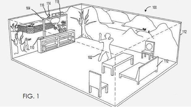 Microsoft patent drawing of IllumiRoom