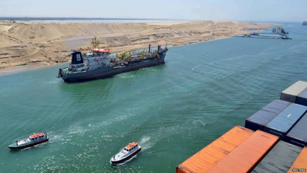 Vessels passing along the New Suez Canal, July 2015 photo