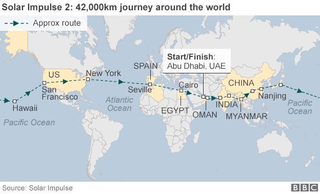 Map showing journey of Solar Impulse