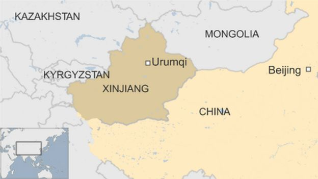 map of China showing Xinjiang and its capital city Urumqi, bordered by Mongolia, Kazakhstan and Kyrgyzstan