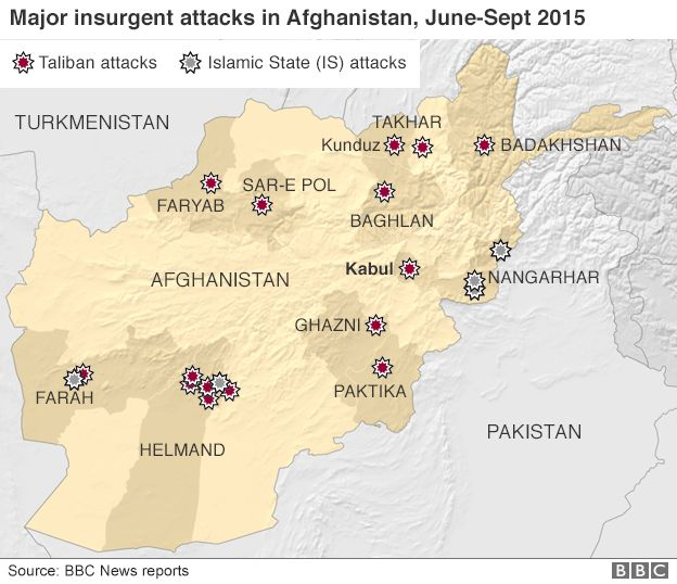 Map of major insurgent attacks in Afghanistan June-September 2015