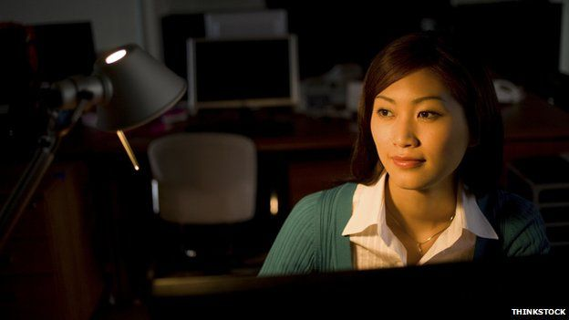 Woman working in the night