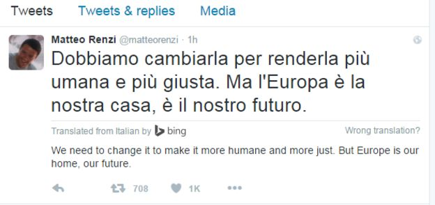 Tweet from Matteo Renzi, Italian PM