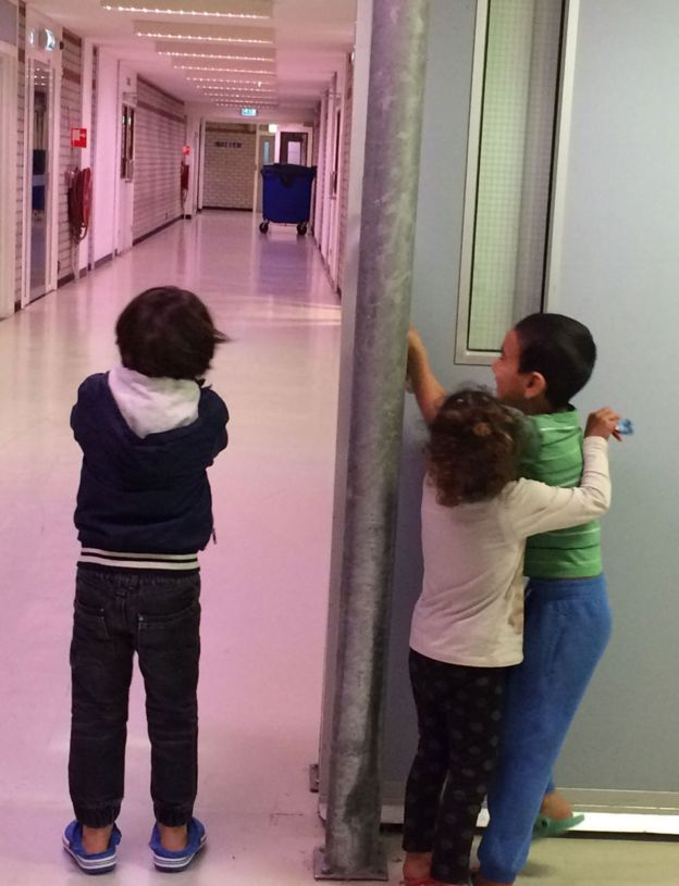 Children in a refugee reception centre