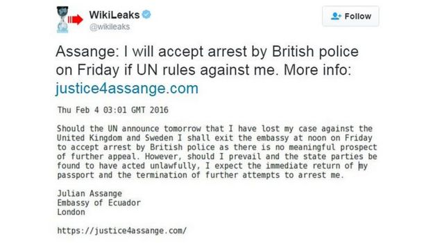 Julian Assange statement on Twitter