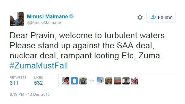 @MmusiMaimane tweeted: Dear Pravin, welcome to turbulent waters. Please stand up against the SAA deal, nuclear deal, rampant looting Etc, Zuma. #ZumaMustFall