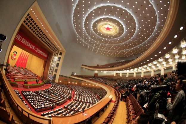 Fish-eye lens view of the 12th National Committee of the Chinese People's Political Consultative Conference (CPPCC) in the Great Hall of the People in Beijing, China, 3 March 2016.