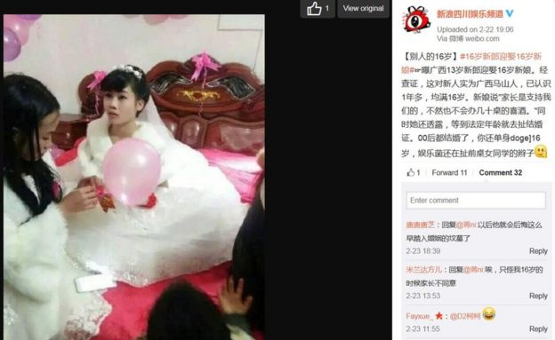 Screencap of Sina's Weibo post on teenage couple in China on 24 February 2016