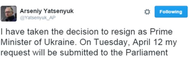 Resignation tweet by Arseniy Yatsenyuk