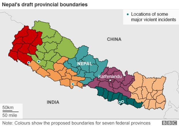 Map showing draft boundaries for seven provinces