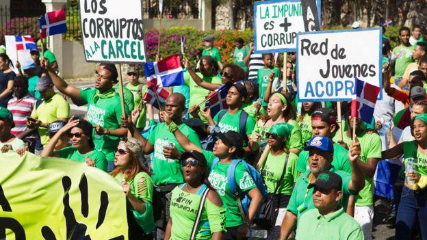 Marcha contra la corrupción y el escándalo Odebrecht en República Dominicana