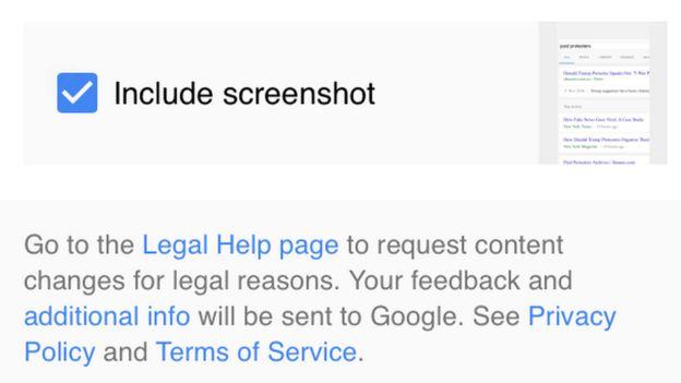 Screengrab of google feedback page