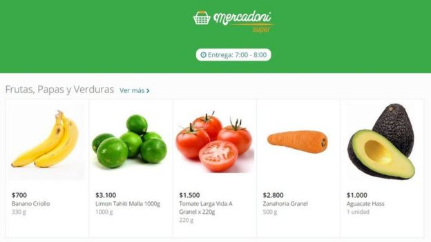 Screengrab of Mercadoni website