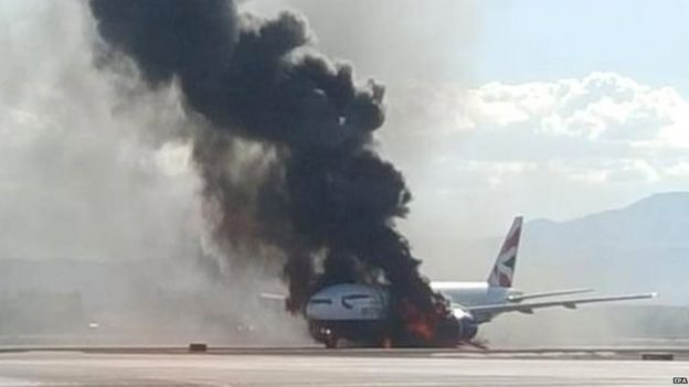 British Airways plane catches fire