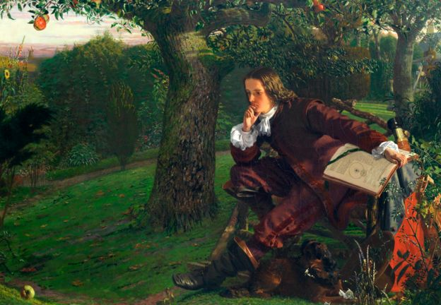 Issac Newton sits under an apple tree - 19th Century painting by Robert Hannah