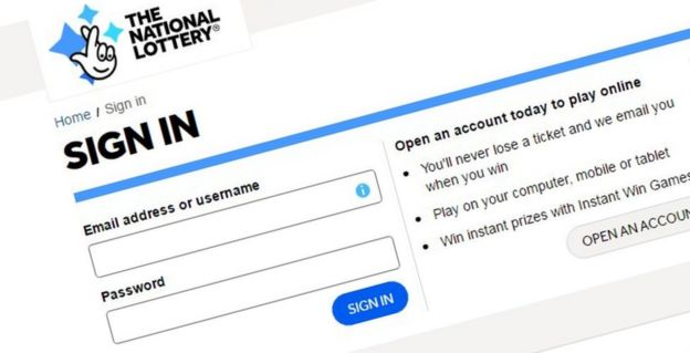 National Lottery logon