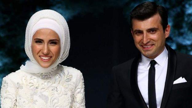 Turkish President Recep Tayyip Erdogan's daughter Sumeyye Erdogan and her husband Selcuk Bayraktar