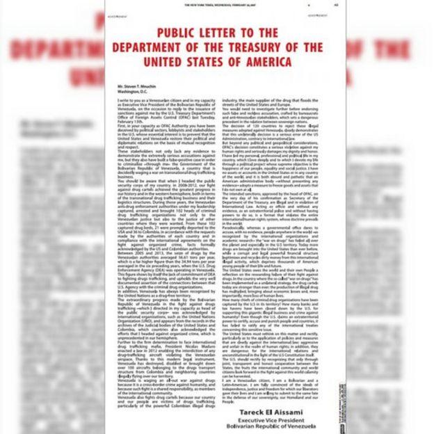 Carta de Tareck El Aisssami en The New York Times.