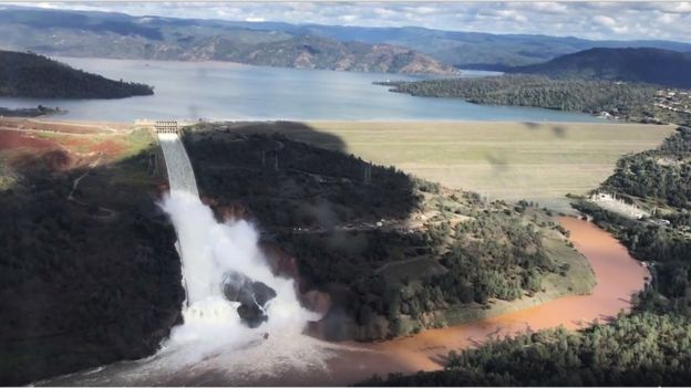 The structure of the Oroville Dam in California has weakened following heavy rainfall (AP)