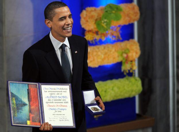 Obama recibe el premio Nobel de la Paz en 2009