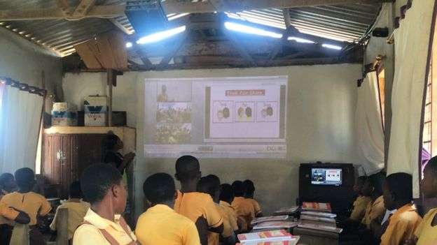 Schoolchildren watching projection