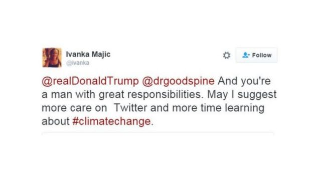Ujumbe wa Twitter uliochapishwa na Ivanka Magic akimjibu Donald Trump