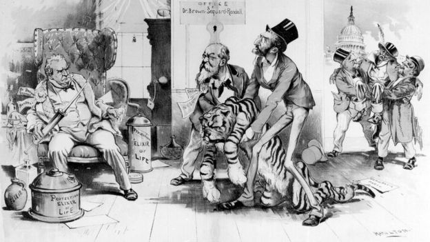 Caricatura satírica de 1896 burlándose de Charles-Édouard Brown-Séquard, dibujada por caricaturista Grant E. Hamilton.
