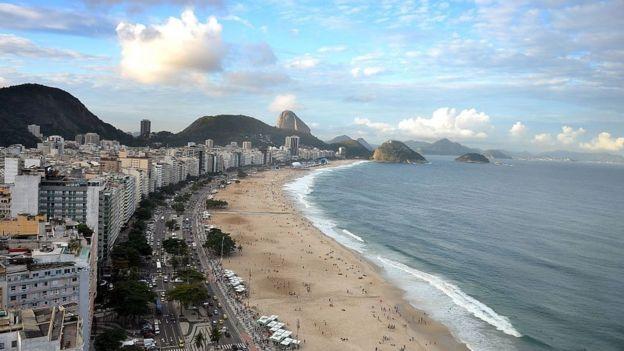 Vista aérea de Copacabana, Río de Janeiro, Brasil.