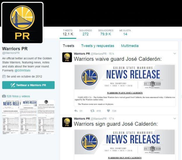 Los anuncios en una de las cuentas oficiales de los Warriors en Twitter.