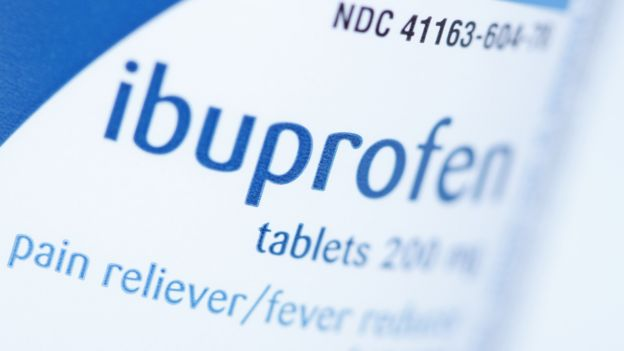 Ibuprofen tablets in a bottle
