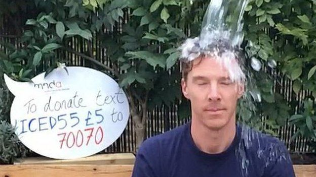Benedict Cumberbatch doing the ice bucket challenge last year