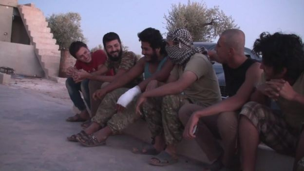Islamic State defectors and captured militants at an internment camp in Idlib province, Syria