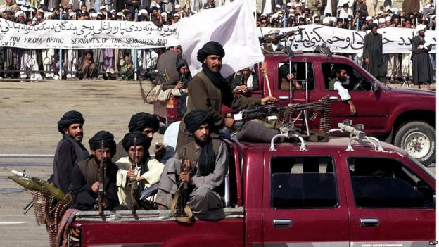 Taliban fighters on parade in Kabul
