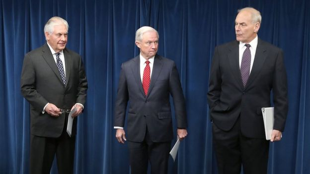 Tillerson, Kelly y Sessions