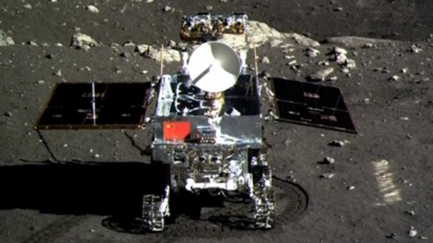 This screen grab taken from a CCTV footage shows a photo of the Jade Rabbit (Yutu) moon rover taken by the Chang